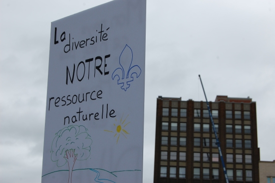 Many signs held messages of tolerance and love for Quebec's diversity.